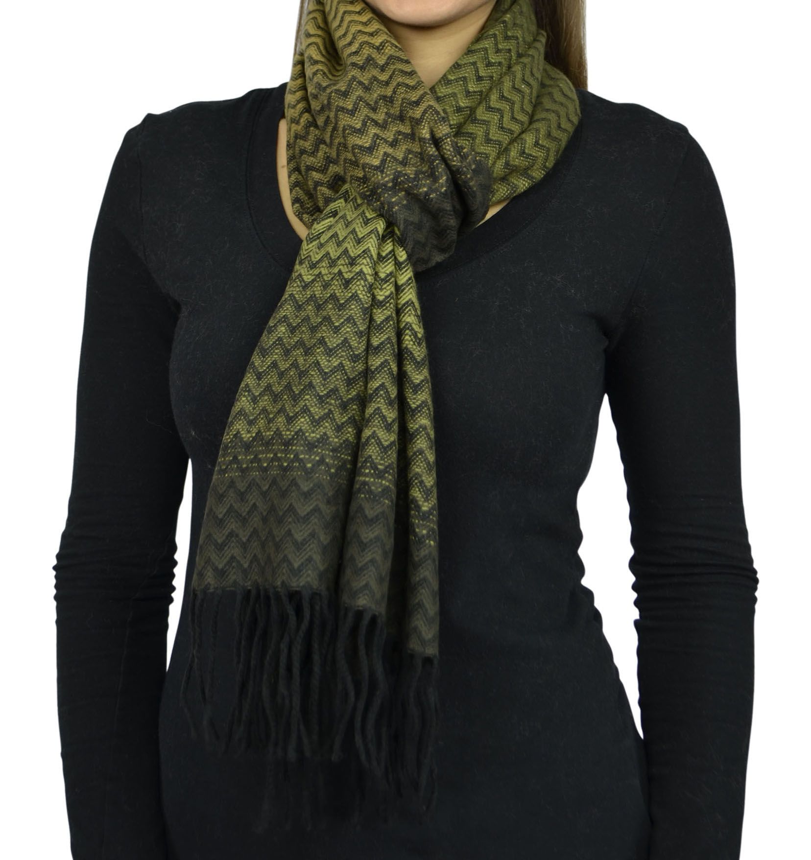 Belle Donne- Women Cashmere Feel Scarf - Plaid / Warm Winter Fashion Scarves - Olive