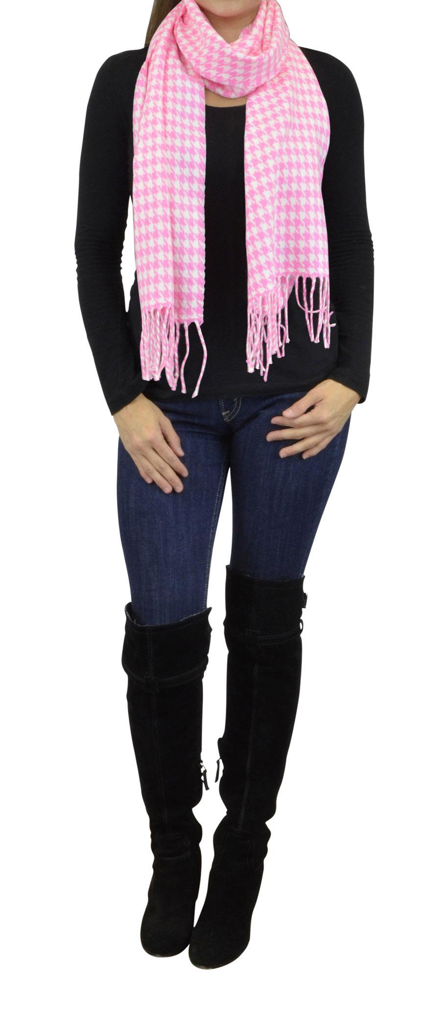 Belle Donne - Women Cashmere Feel Scarf Houndstooth Scarf Shawl Wrap 72x12 - Fuchsia