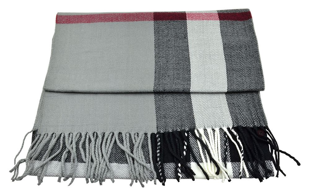 Belle Donne - Womens and Mens Cashmere Feel Winter Plaid Scarves Shawl Wrap - Woman, Man, Boys Girls Plaid Warm Winter Scarf Scarves - Gray-Tone