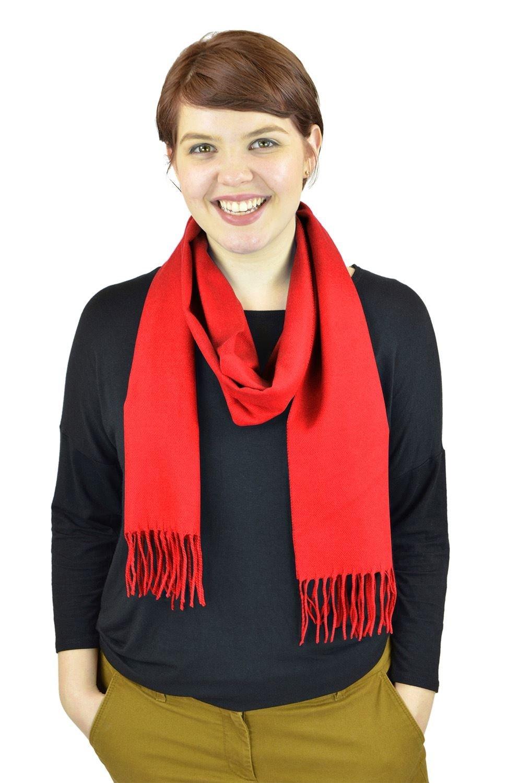 Belle Donne Women Scarves Girls Scarf Cashmere Feel Scarves Winter Solid Scarves - Red