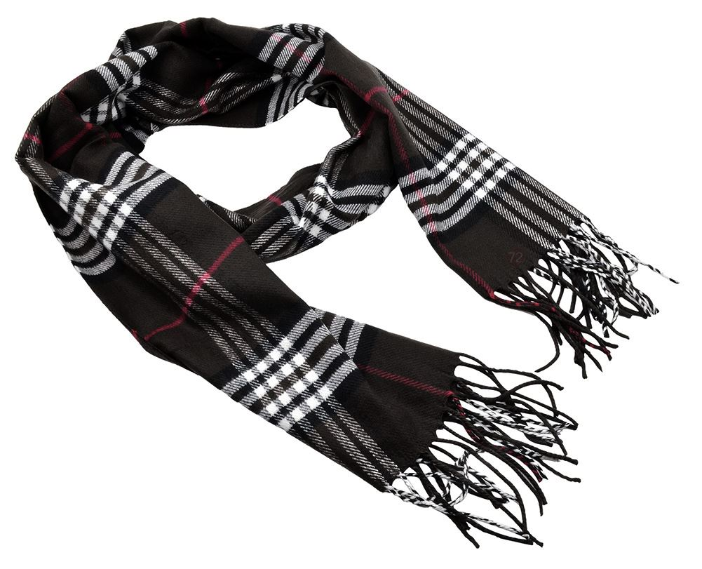 Belle Donne - Womens and Mens Cashmere Feel Winter Plaid Scarves Shawl Wrap - Woman, Man, Boys Girls Plaid Warm Winter Scarf Scarves - Black-7