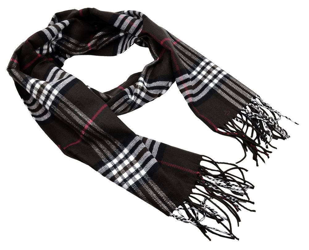 Belle Donne - Womens and Mens Cashmere Feel Winter Plaid Scarves Shawl Wrap - Woman, Man, Boys Girls Plaid Warm Winter Scarf Scarves - Black-7