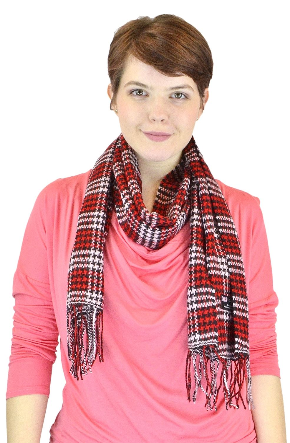 Belle Donne - Womens and Mens Cashmere Feel Winter Plaid Scarves Shawl Wrap - Woman, Man, Boys Girls Plaid Warm Winter Scarf Scarves - Red-Tone