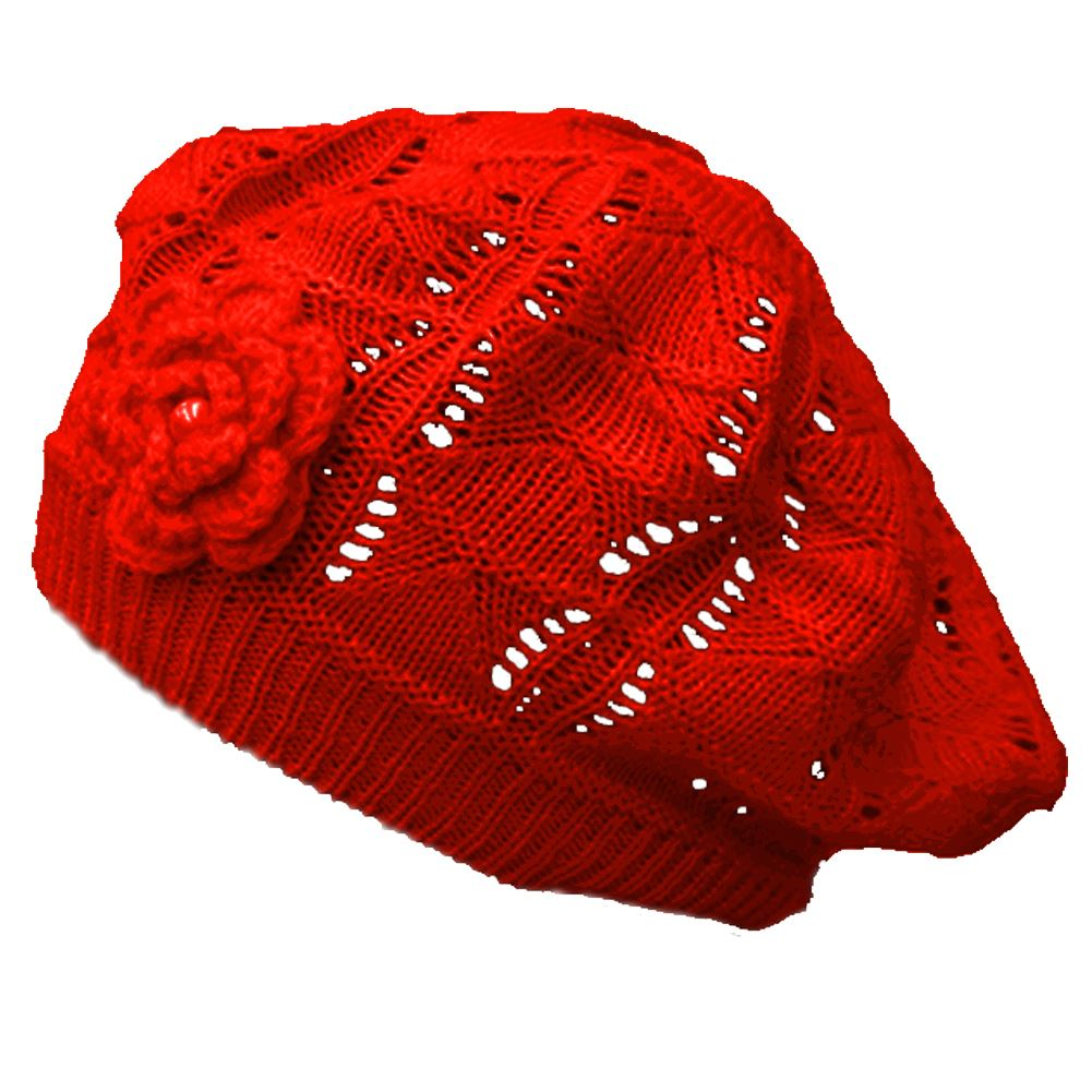 Mesh Beret Tam with Flower Hat Cap Red