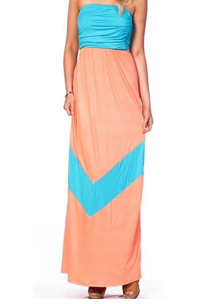 Neon Orange and White Chevron Print Off the Shoulder Dresses