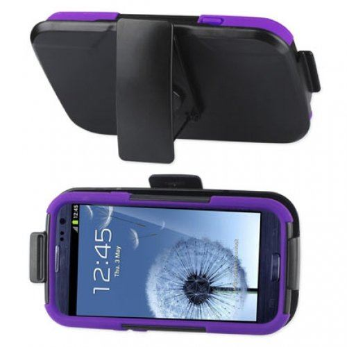 Reiko SLCPC09-SAMI9300 Premium Durable Hybrid Combo Case with Kickstand for Samsung Galaxy SIII - Black/Purple