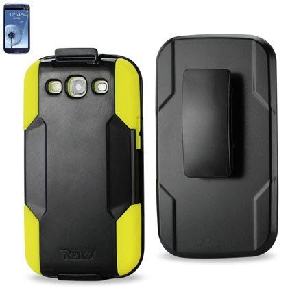 Reiko SLCPC09-SAMI9300 Premium Durable Hybrid Combo Case with Kickstand for Samsung Galaxy SIII  - Black/Yellow