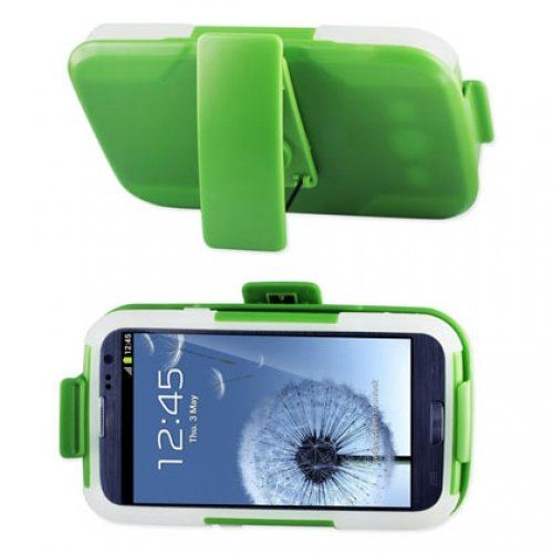 Reiko SLCPC09-SAMI9300 Premium Durable Hybrid Combo Case with Kickstand for Samsung Galaxy SIII  - Green/Clear
