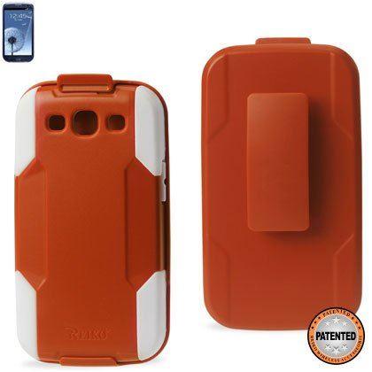 Reiko SLCPC09-SAMI9300 Premium Durable Hybrid Combo Case with Kickstand for Samsung Galaxy SIII - Orange/White