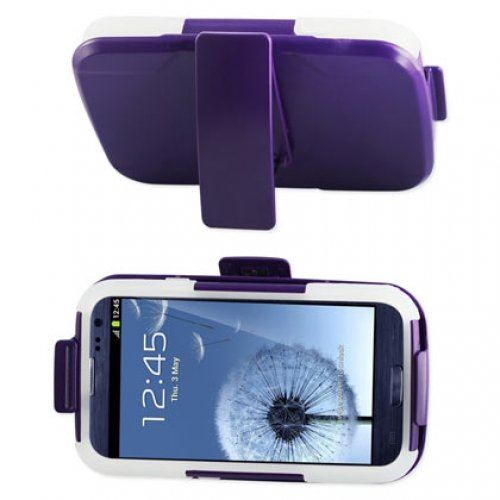 Reiko SLCPC09-SAMI9300 Premium Durable Hybrid Combo Case with Kickstand for Samsung Galaxy SIII - Purple/Clear