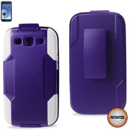 Reiko SLCPC09-SAMI9300 Premium Durable Hybrid Combo Case with Kickstand for Samsung Galaxy SIII - Purple/White