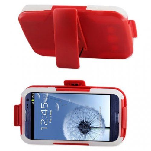 Reiko SLCPC09-SAMI9300 Premium Durable Hybrid Combo Case with Kickstand for Samsung Galaxy SIII- Red/Clear