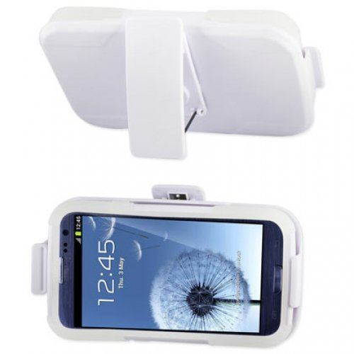 Reiko SLCPC09-SAMI9300WH Premium Durable Hybrid Combo Case with Kickstand for Samsung Galaxy SIII - 1 Pack - Retail Packaging - White