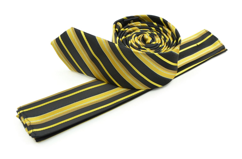 Moda Di Raza Men's Slanted Shadow Stripe Ties Modern Imported Fashion Neckties-Gold