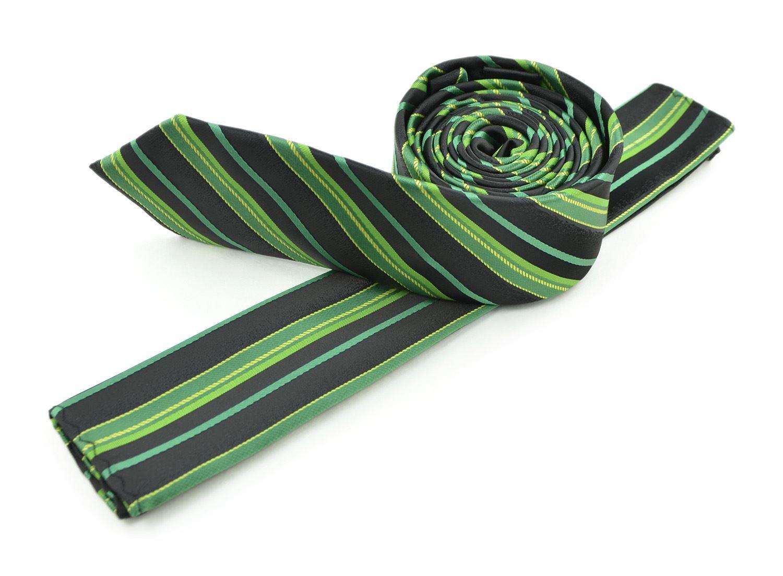 Moda Di Raza Men's Slanted Shadow Stripe Ties Modern Imported Fashion Neckties-Green