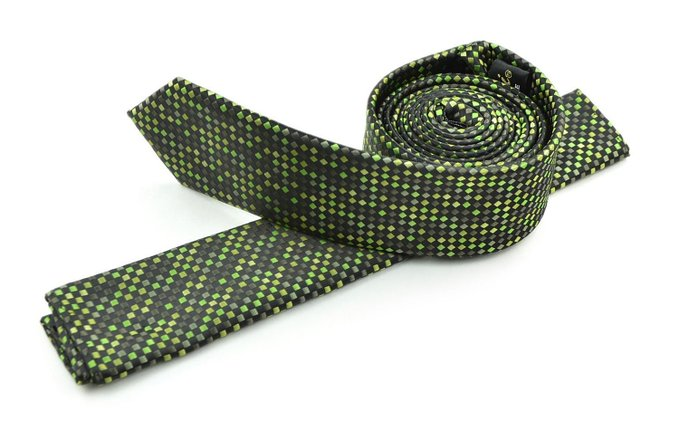 Moda Di Raza Mens Led Pattern Dotted Skinny Ties Modern Imported Fashion Neckties-Green