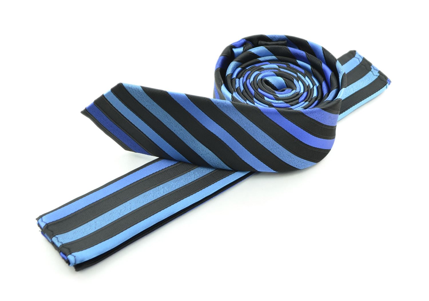 Moda Di Raza Men's Slanted Subtle Striped Ties Trendy Imported Fashion Necktie-Blue