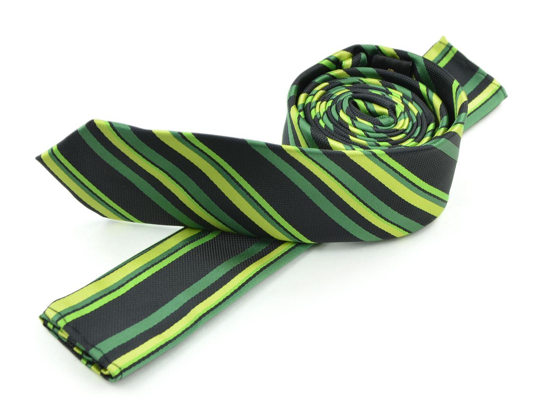 Moda Di Raza Men's Multi Striped Skinny Trendy Imported Modern Fashion Necktie-Green