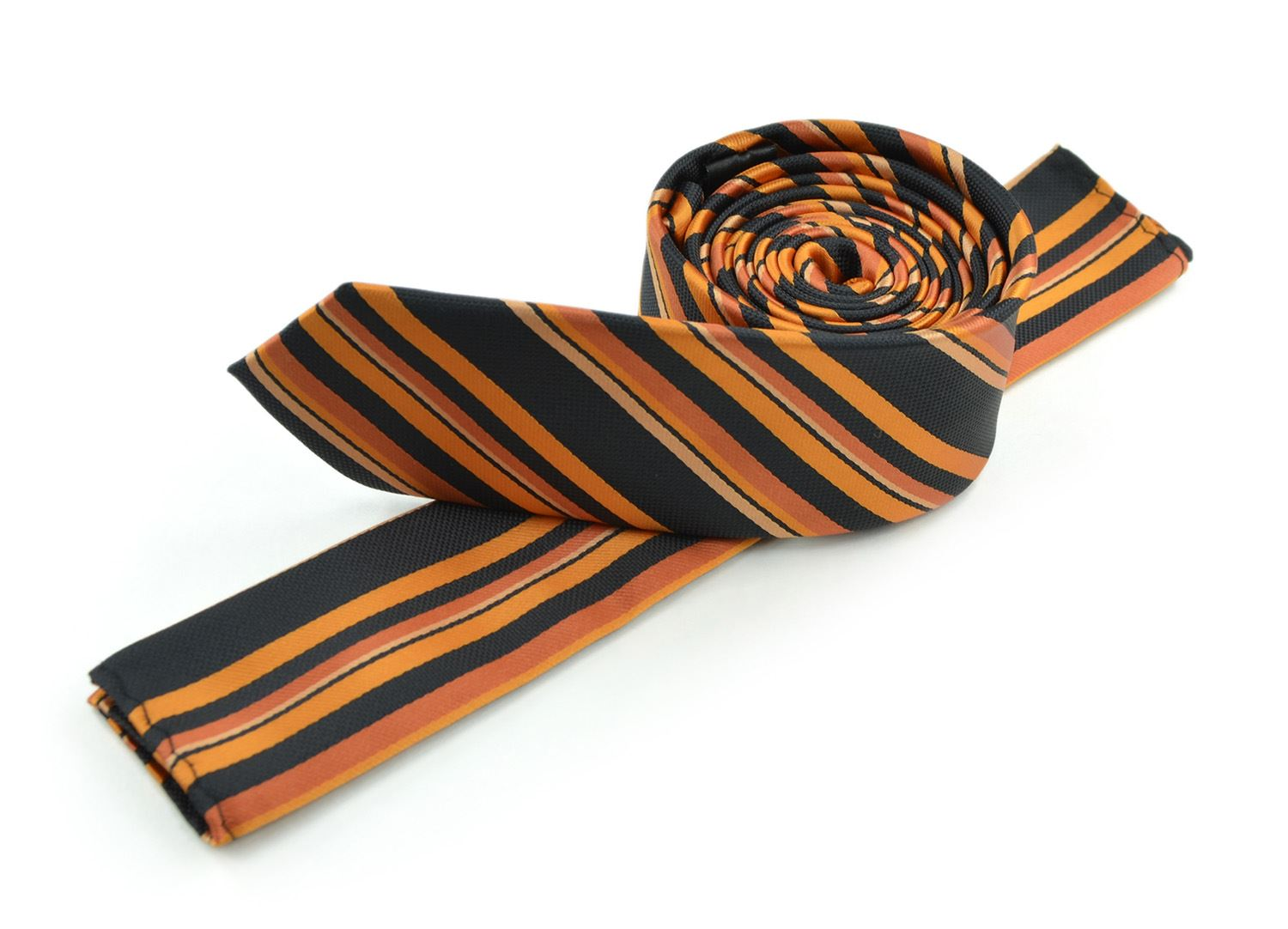 Moda Di Raza Men's Multi Striped Skinny Trendy Imported Modern Fashion Necktie-Orange