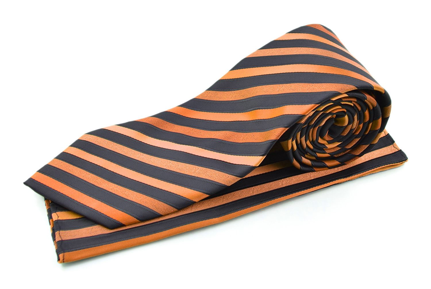 Moda Di Raza Men's Subtle Striped Trendy Modern Imported Silky Fashion Neckties - Orange