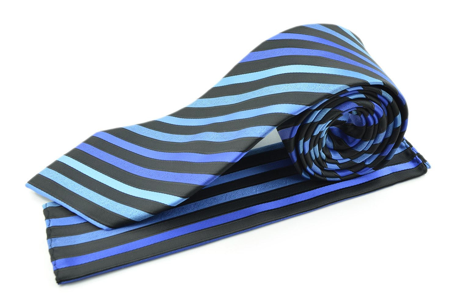 Moda Di Raza Men's Subtle Striped Trendy Modern Imported Silky Fashion Neckties - Blue