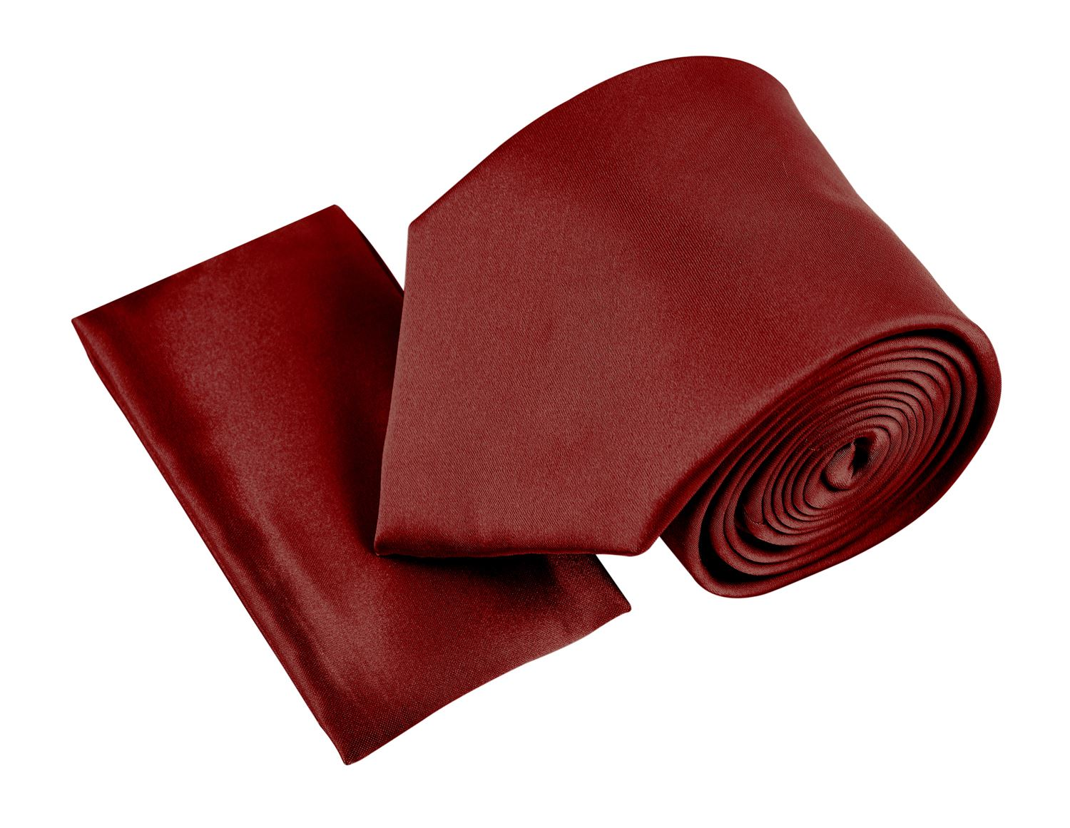 Belle Donne- Men's Solid Satin Silk NeckTie With Handkerchief -Wine