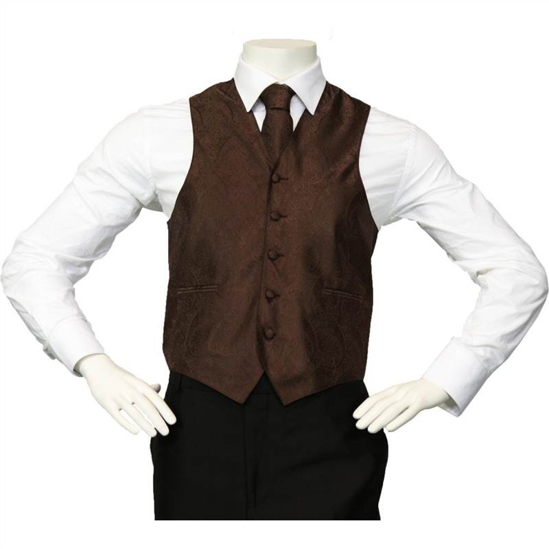 Amanti - Men's 4pc Set Paisley Tuxedo Vest - Dark Brown, X-Large