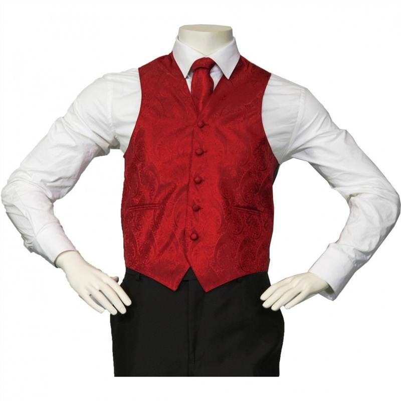 Amanti - Men's 4pc Set Paisley Tuxedo Vest - Red, X-Large