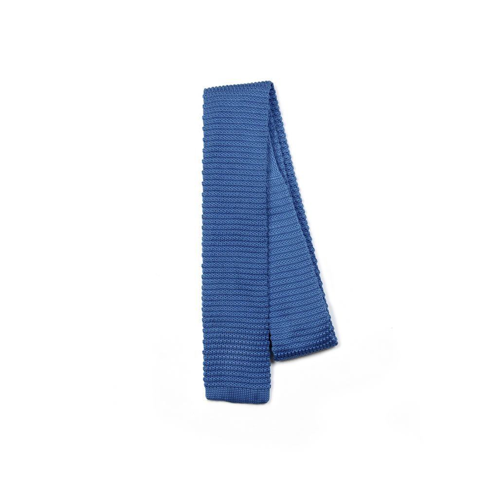 Solid Color Slim Knit Tie Square End - Turquoise