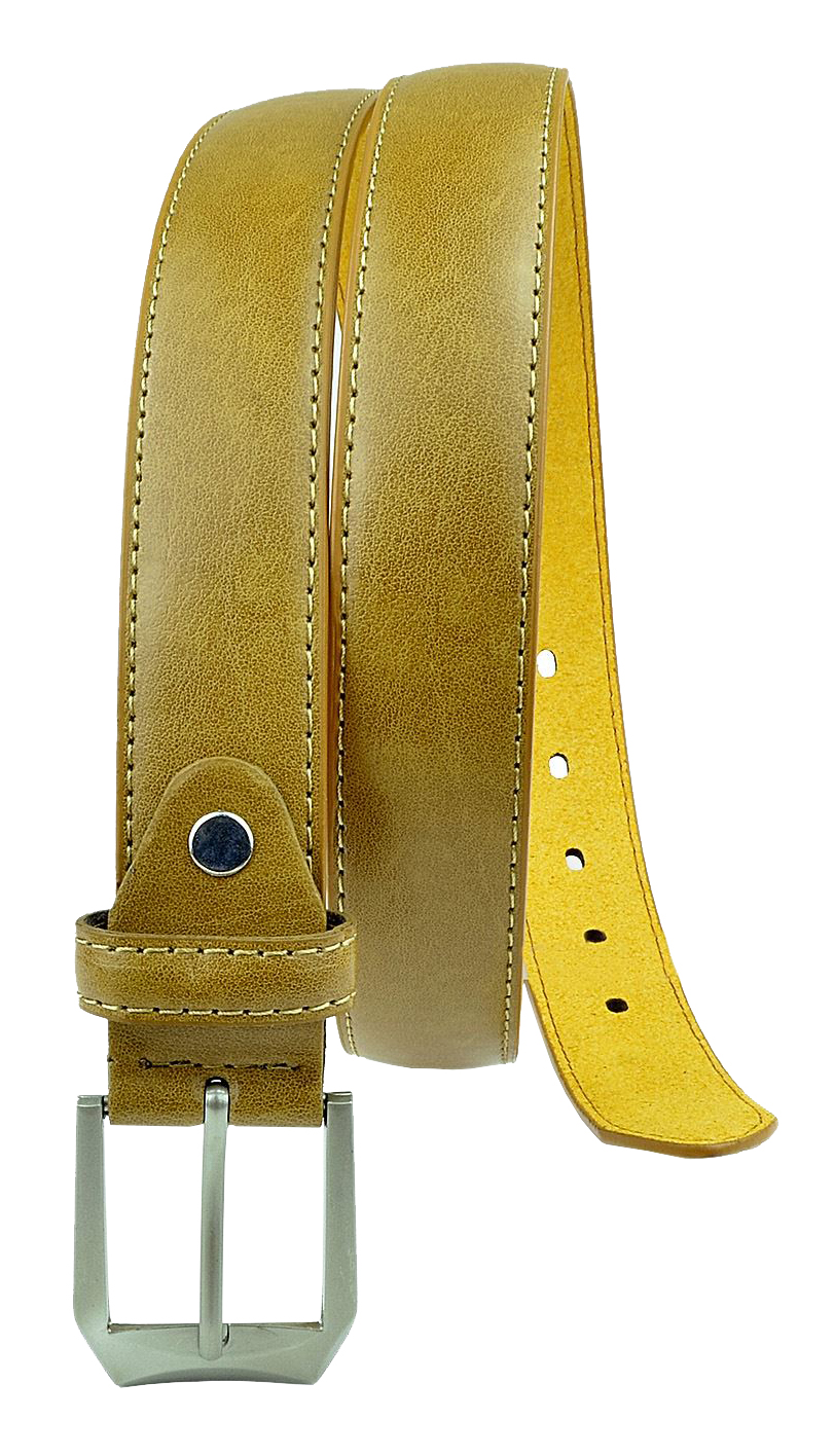 Moda Di Raza Men's Dress Belt Leather With Square Buckle Silver Polished - Single Prong Buckle - Tan/Medium