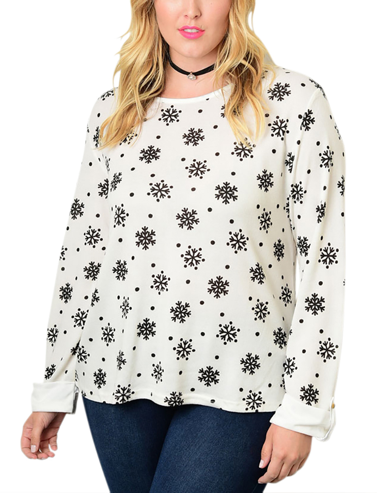 Belle Donne Big Women Tops Blouse Full or 3/4 Sleeve Casual Tunic Plus Size - Ivory/X-Large