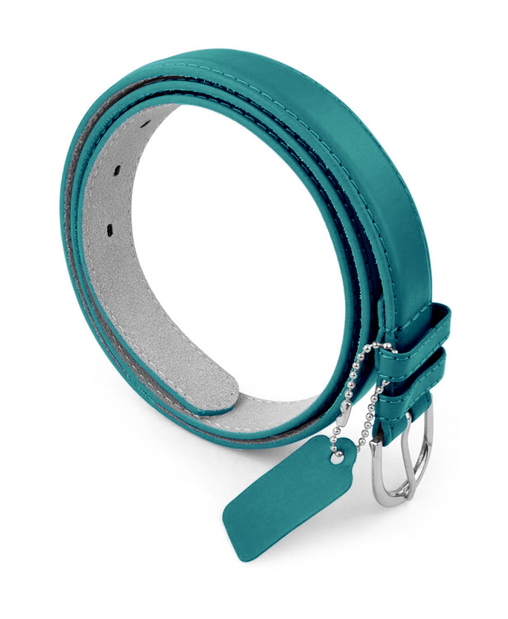 Womens Chic Dress Belt Bonded Leather Polished Buckle - Light KellyGreen Large