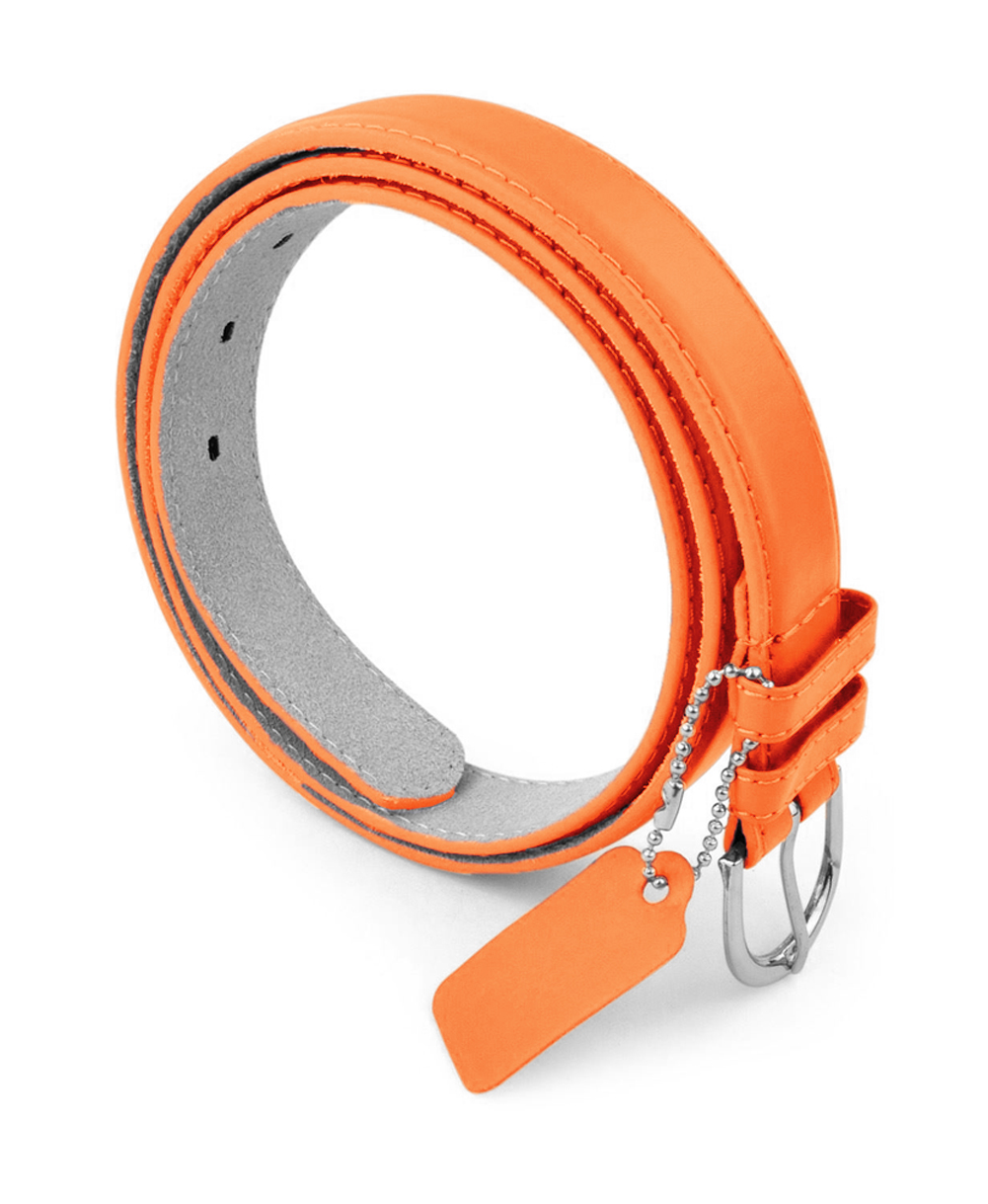 Womens Leather Belt with Silver Polished Round Buckle - Metallic/Neon Colors - PU Leather Belts by Belle Donne - Neon Orange Large