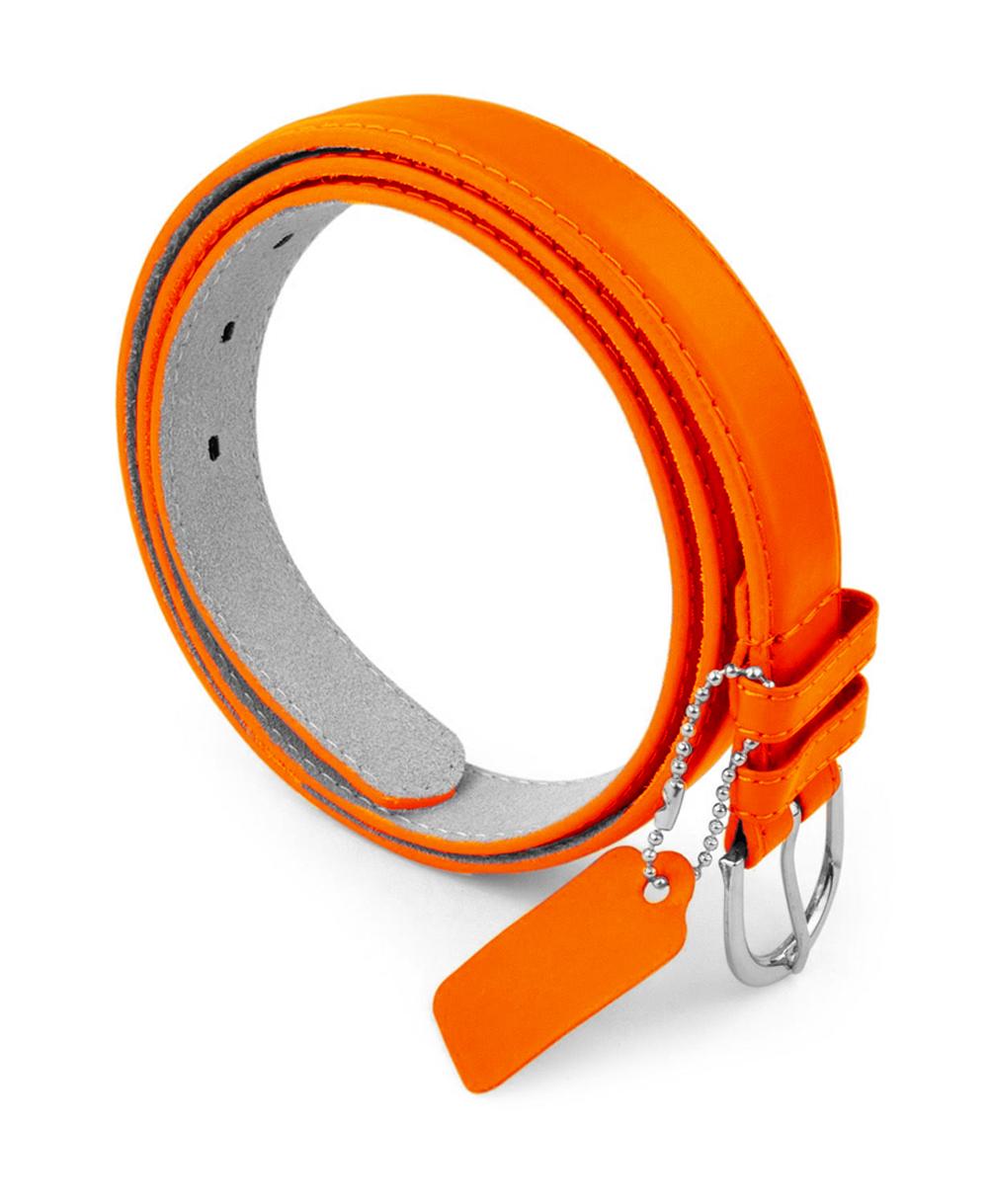 Womens Chic Dress Belt Bonded Leather Polished Buckle - Orange Medium