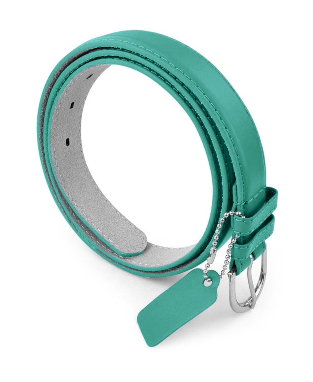 Womens Dress Belt - Solid Color Bonded Leather Silver Polished Buckle Belle Donne - Teal X-Large