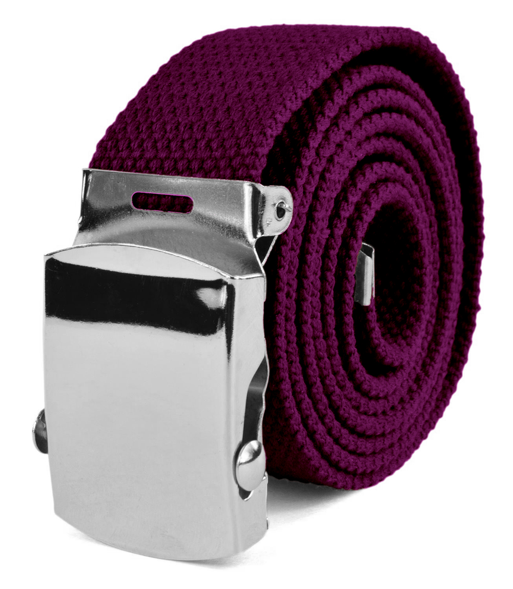 "Canvas Web Belt Military Tactical Style Slide Buckle 44"" / 46"" Long - Dark Purple"
