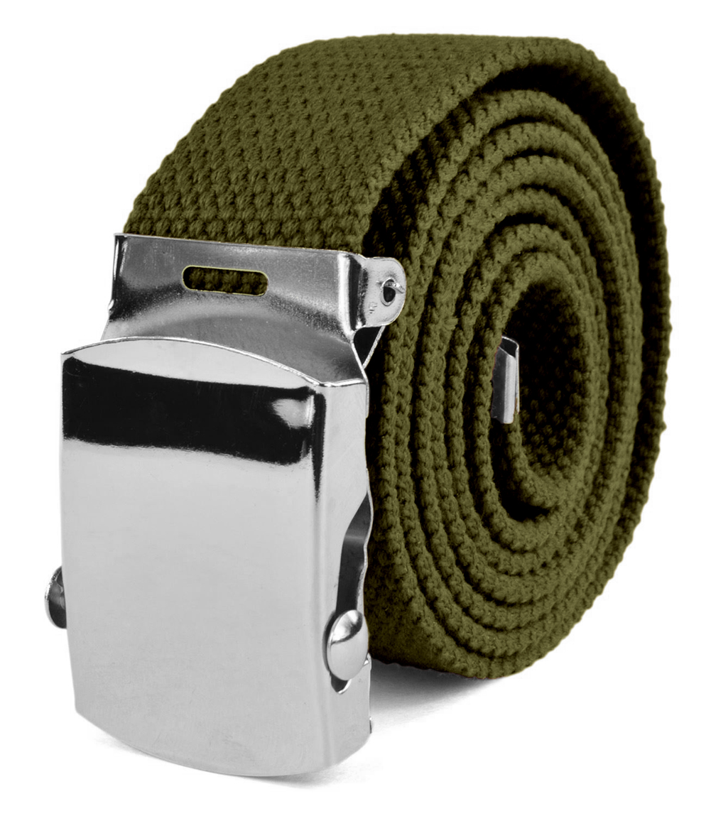 "Canvas Web Belt Military Tactical Style Slide Buckle 44"" / 46"" Long - Olive"