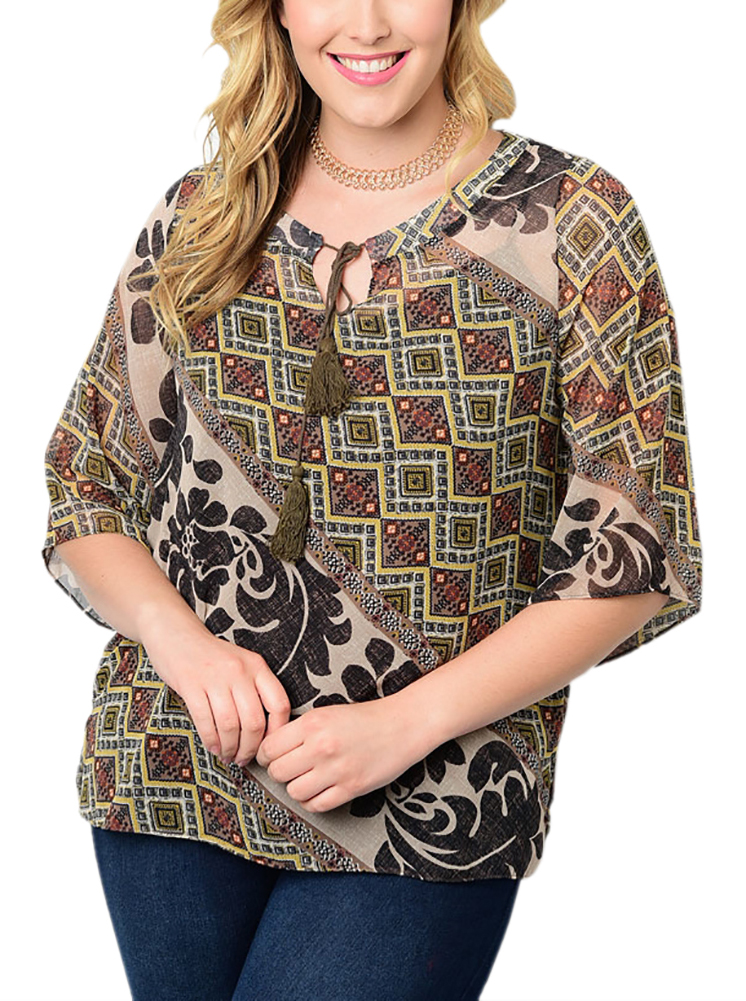 Belle Donne Big Women Tops Blouse Full or 3/4 Sleeve Casual Tunic Plus Size - Taupe/X-Large