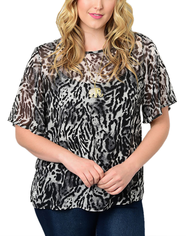 Belle Donne Big Women Tops Blouse Full or 3/4 Sleeve Casual Tunic Plus Size - Black/X-Large