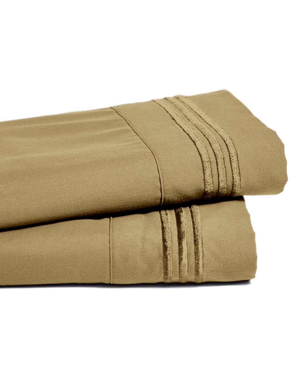 Deep Pocket Bamboo Bed Sheet - Luxury 2200 Embroidered Wrinkle, Fade and Stain Resistant Sheets - Khaki Queen Size
