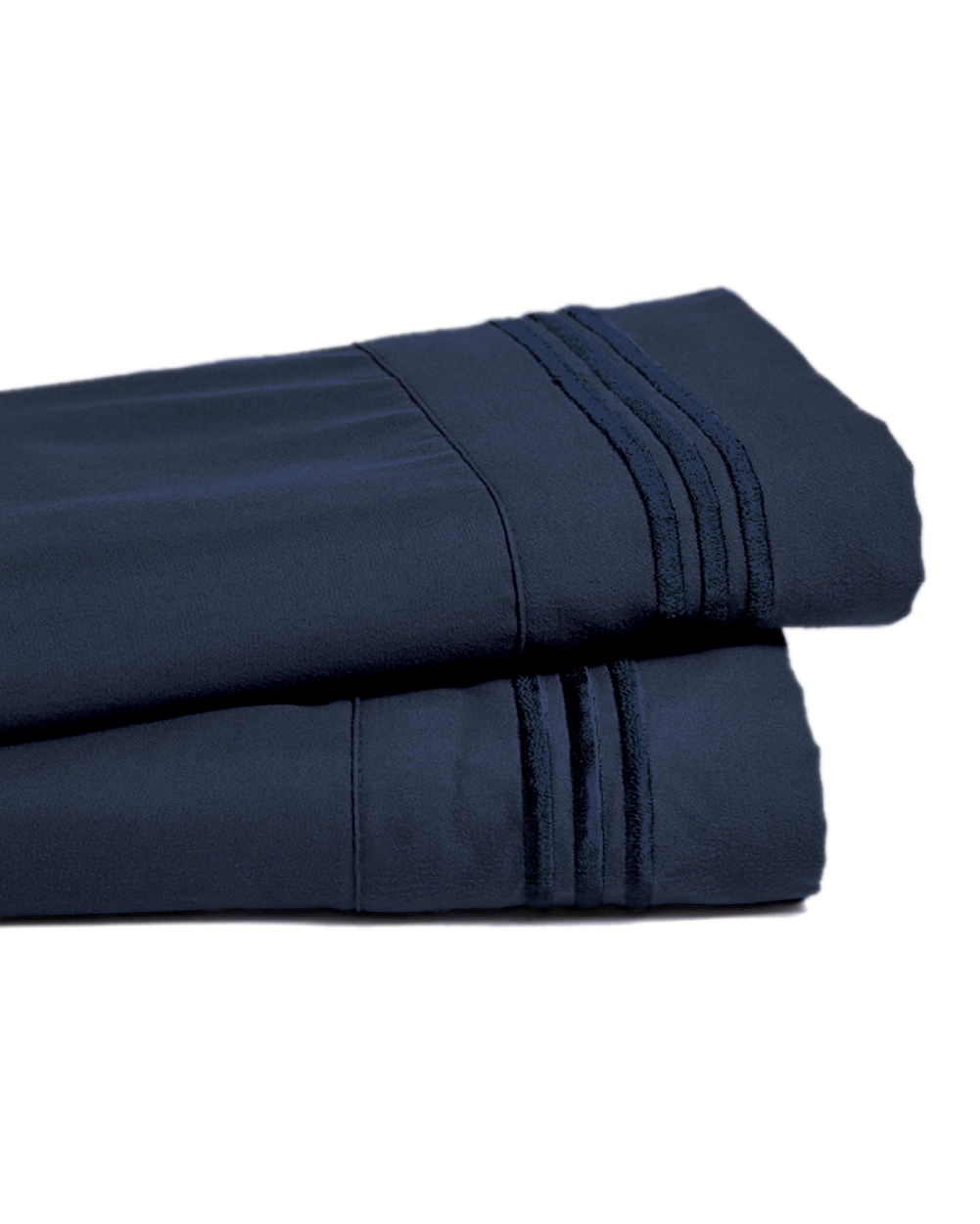 Deep Pocket Bamboo Bed Sheet - Luxury 2200 Embroidered Wrinkle, Fade and Stain Resistant Sheets - Navy Full Size