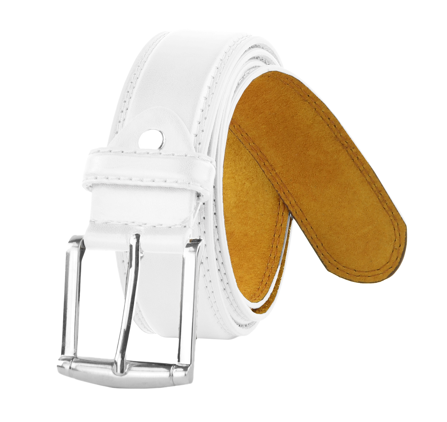 Moda Di Raza - Men's Classic Leather Belt - 1.5 Inch Width - Square Silver Polished Belt Buckle - Formal Casual Dress Belt - PU Bonded Leather - White