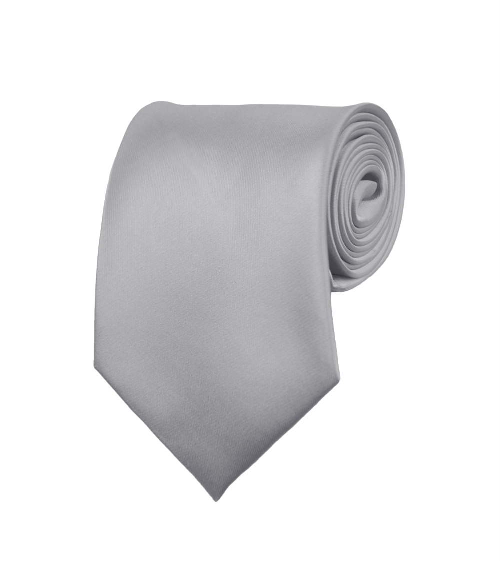 "Mens Neckties - Solid Color Ties - Multiple Colors - Classic 3.5"" width Long Ties by Moda Di Raza - Silver-II"