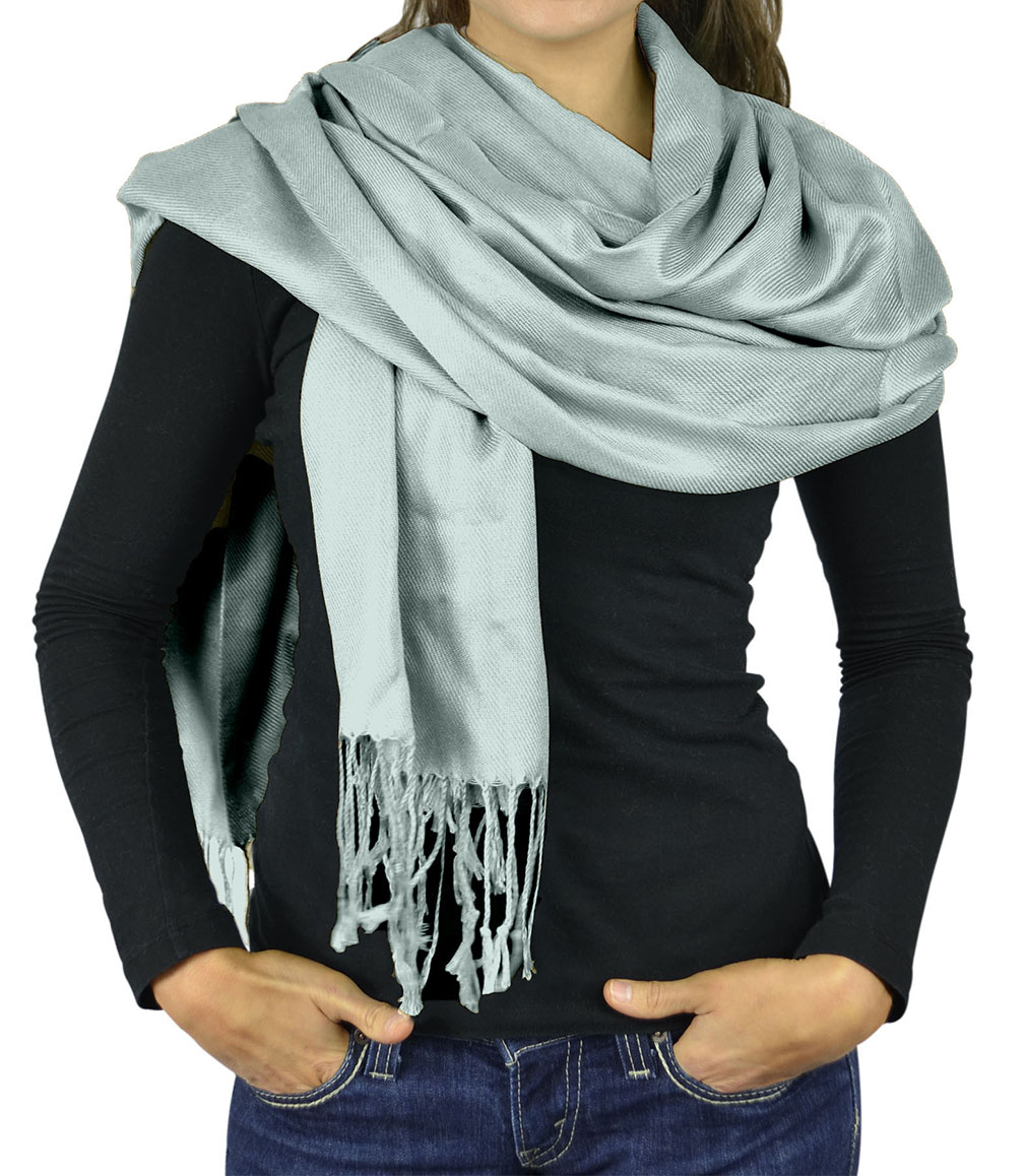 Women Scarf Viscose Pashmina Scarves For Women / Shawl Wrap - Solid Colors - Pale Teal Pashmina Scarf