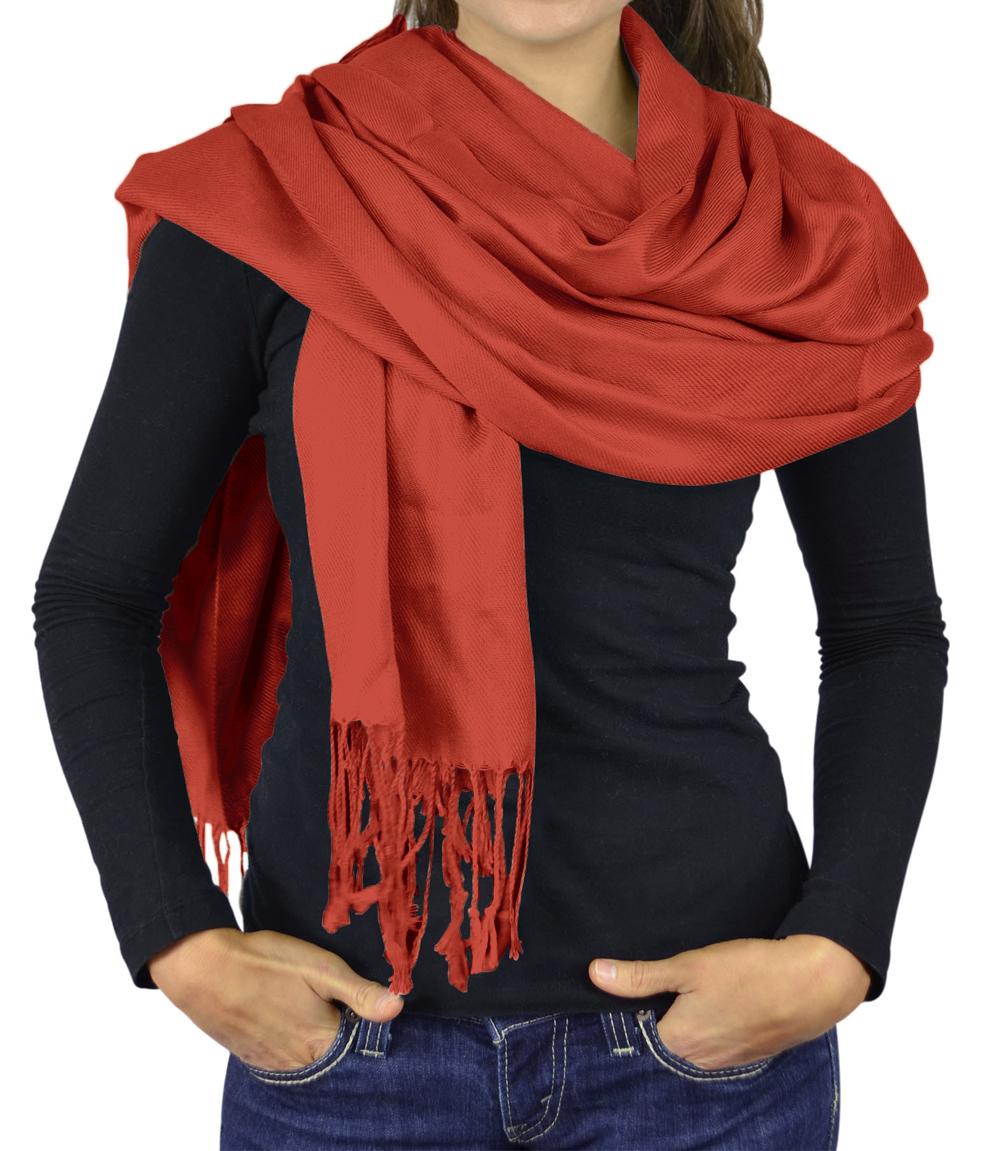 Women Scarves Faux Pashmina Silk Shawl Wrap Head Cover Lightweight - Rust
