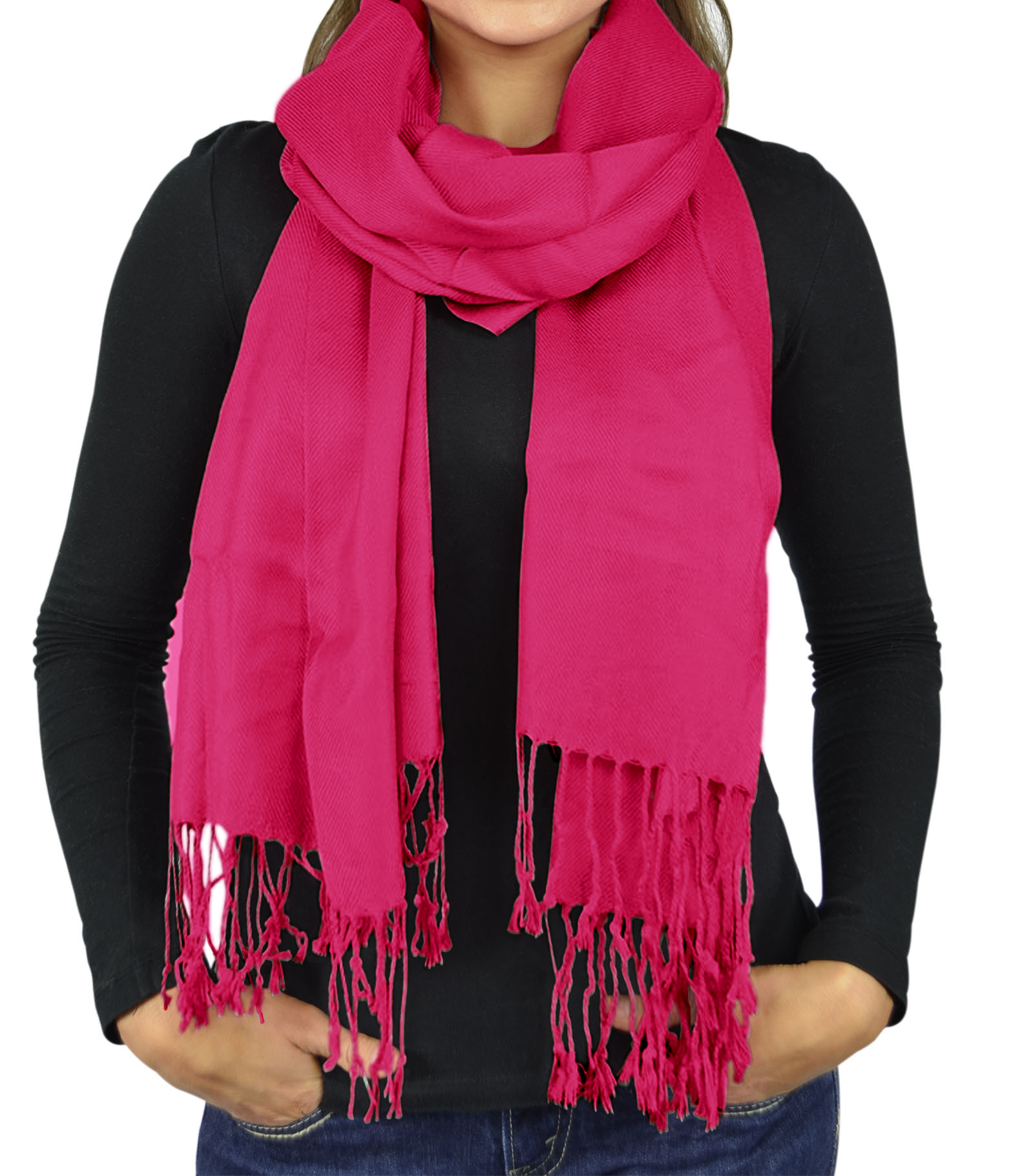 Women Scarf Viscose Faux Silk Pashmina Scarves For Women Stole Shawl Wraps - Pink