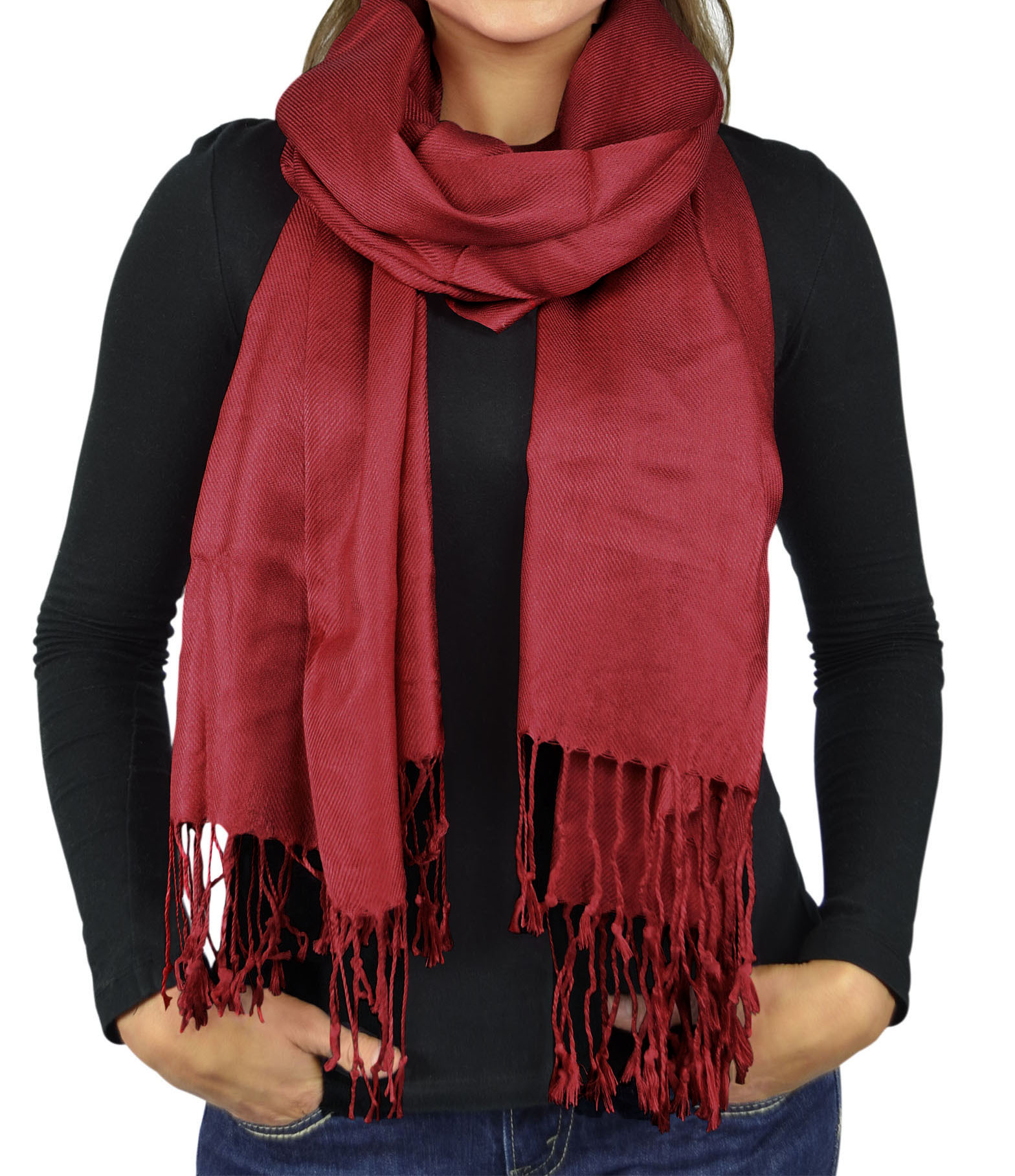 Women Scarves Faux Pashmina Silk Shawl Wrap Head Cover Lightweight - Maroon