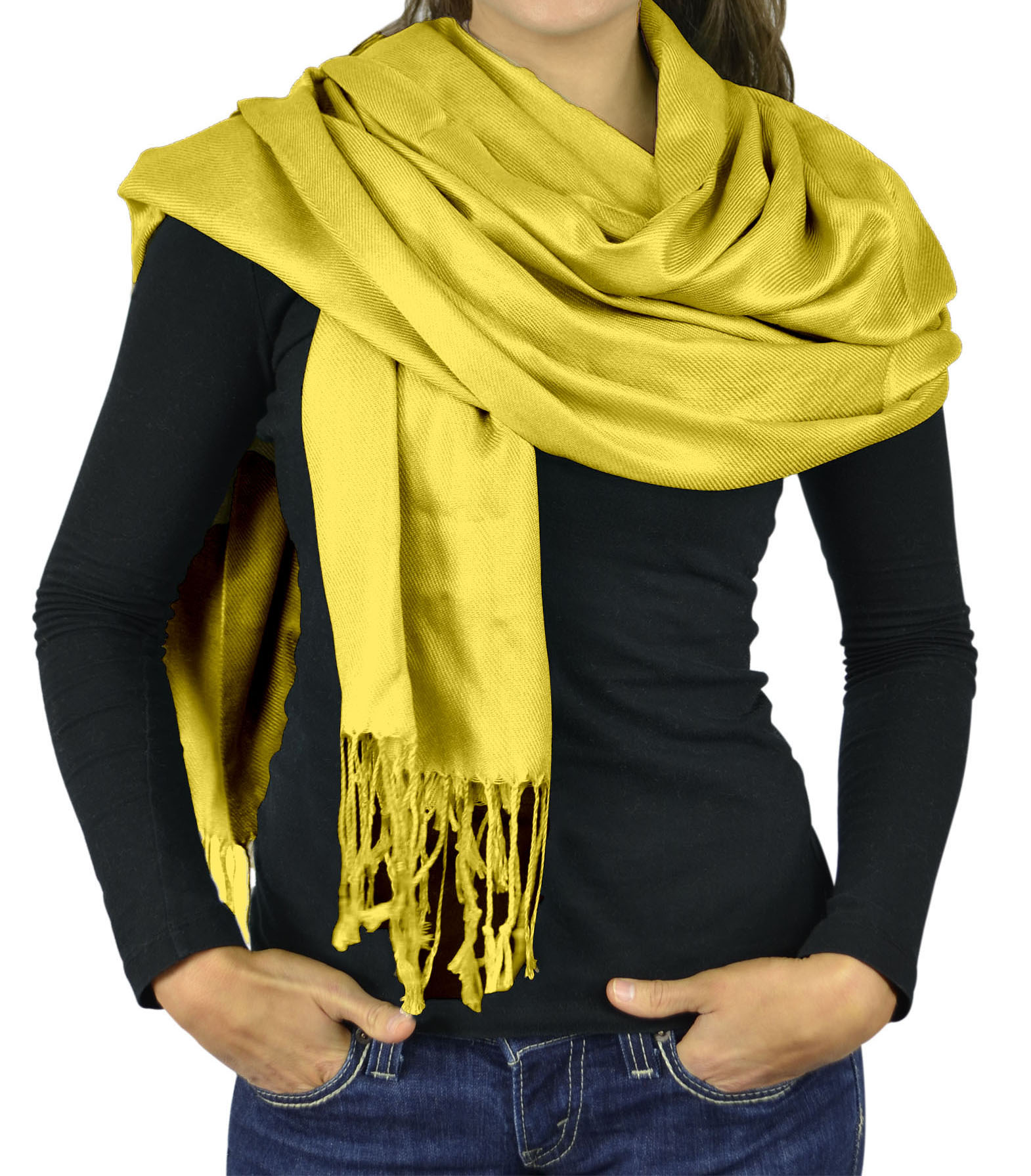 Women Scarves Faux Pashmina Silk Wrap Head Cover Lightweight - Sunshine Yellow