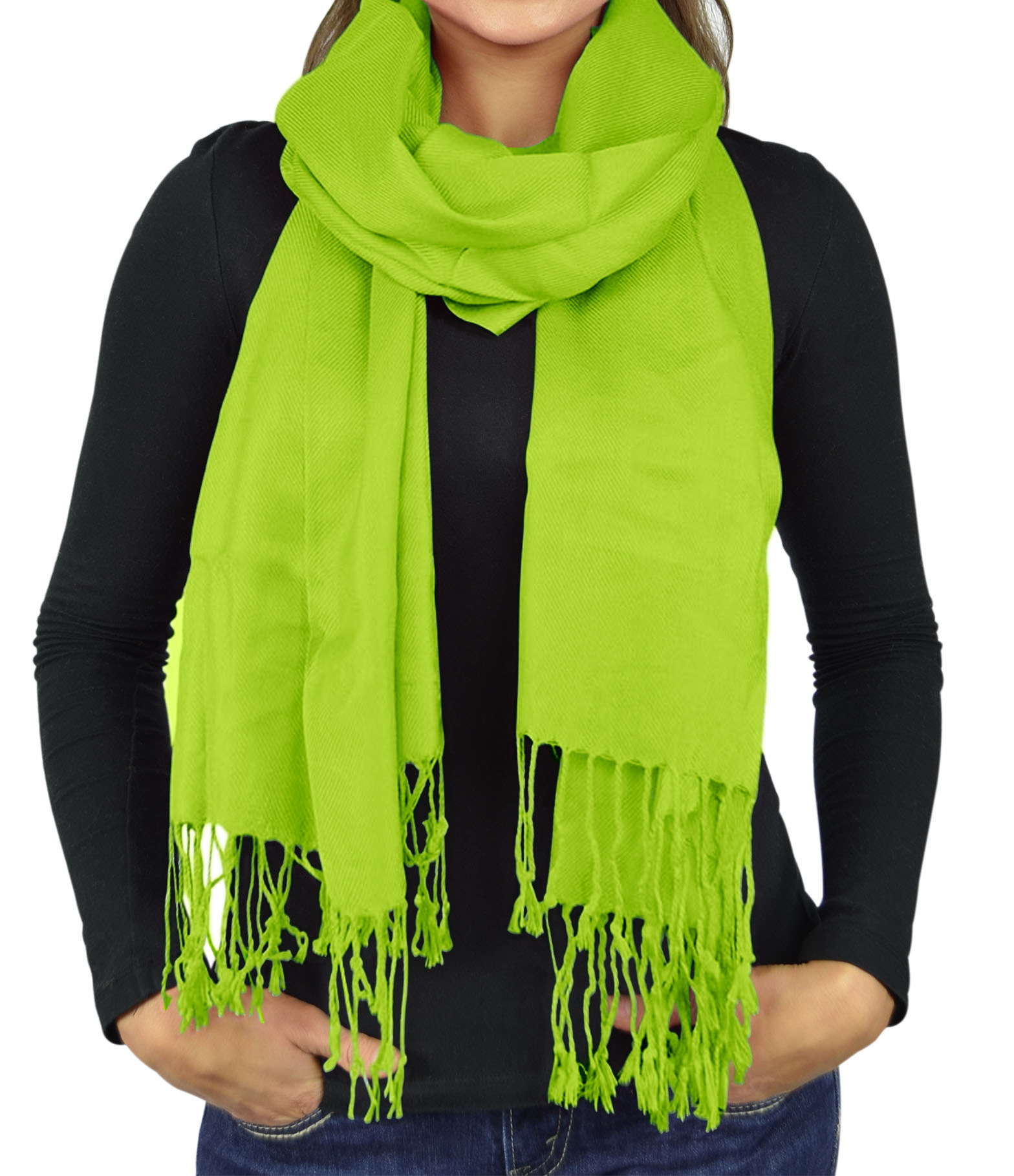Women Scarf Viscose Faux Silk Pashmina Scarves For Women Stole Shawl Wraps - Tree Frog Green