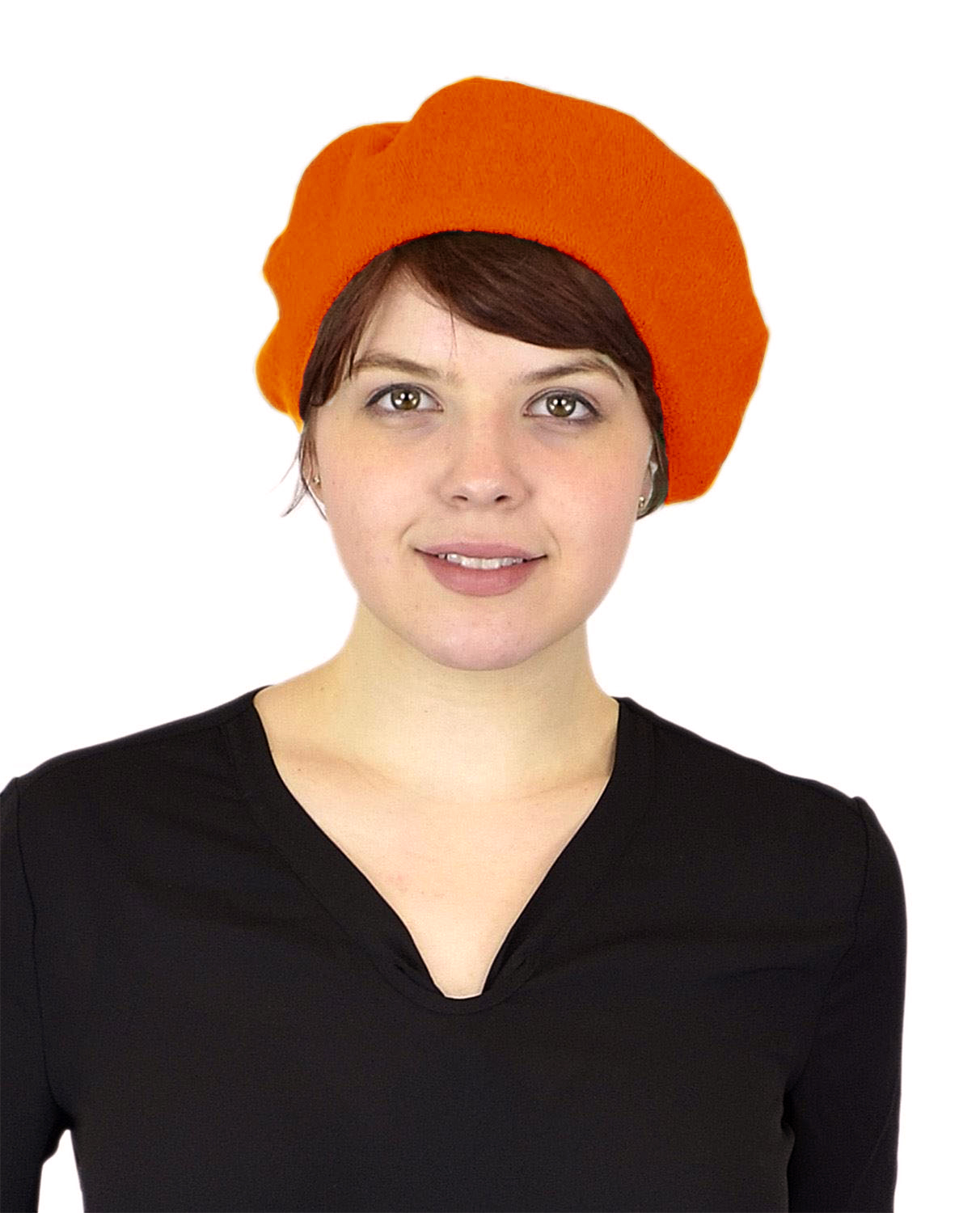 Belle Donne Women's Artist Beret Soft Wool Classic Style Beanie Hat Cap - Orange